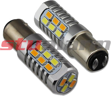 LED BAY15d (dvouvlákno)  dual color, 12-24V, 22LED/5630SMD 95158 95158