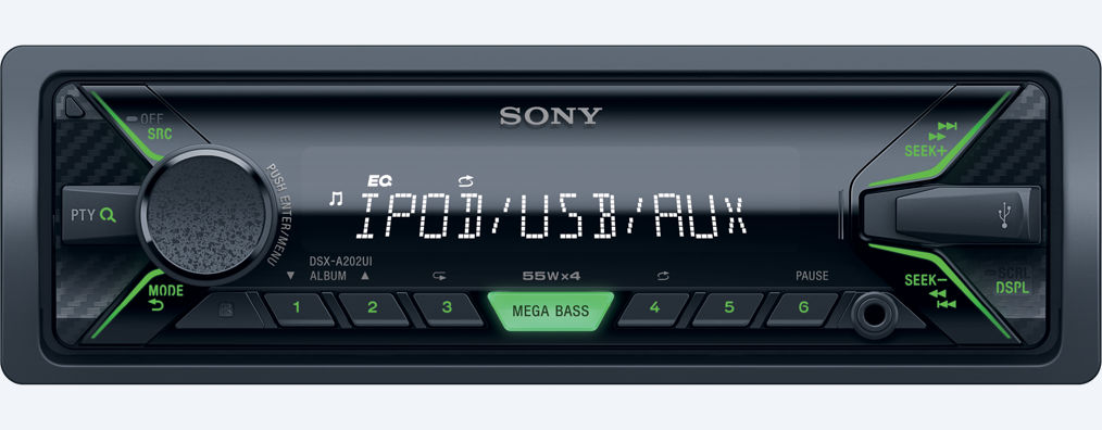 Sony autoradio bez mechaniky, USB, MP3, zelená DSX-A202UI dsx-a202ui